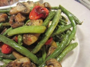 Roasted Green Beans, Mushrooms and Tomatoes