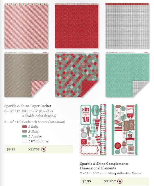 """6 – 12"""" × 12"""" Cardstock Sheets (2 Ruby, 2 Slate, 1 Juniper, 1 White Daisy)  6 – 12"""" × 12"""" B&T Duos® Papers (2 each of 3 double-sided designs)"""