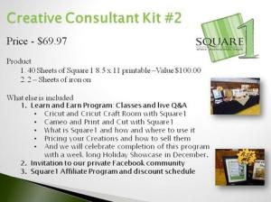"Our all new Creative Consultant program is a great value. Over $100 in product to help you start making money or just enjoy using our product at its best value. This all inclusive program includes our ""Learn and Earn"" training program, membership in our private Facebook Community, great discounts and the Square1 Affiliate program."
